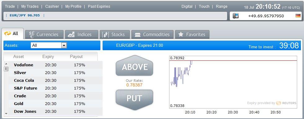 OptionBit Trade Screen