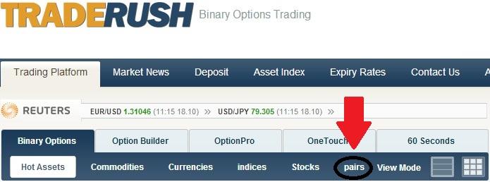 TradeRush Option Pair Options Trading