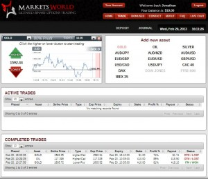 MarketsWorld Trading Screen